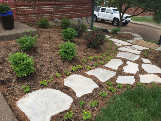 A flagstone path leads to the street of a St. Louis home