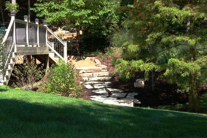A stone walkway and steps