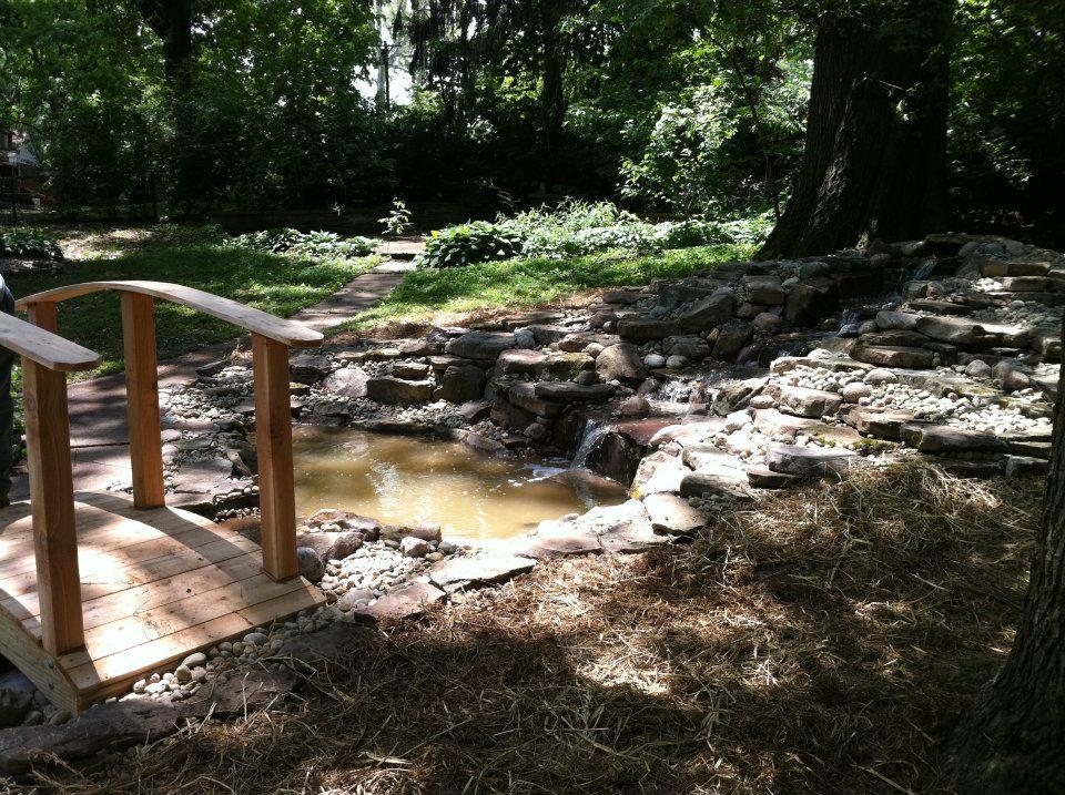 A pond and bridge