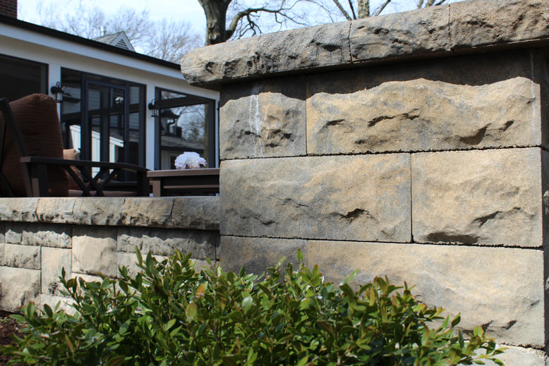 A pediment is part of the design of a patio in St. Louis
