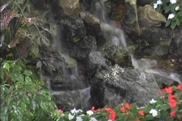 A waterfall designed by Tennant Lawn Service in ST. Louis